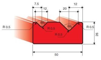 Amada 2V-Matrize 88° V12/V20 R0,5