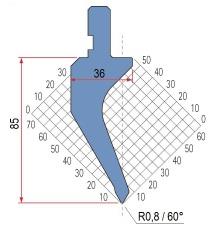 Abkantwerkzeug Typ Amada 1162 60° R0,8