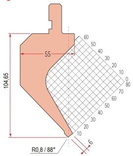 Abkantwerkzeug Typ Amada 1173 88° R0,8