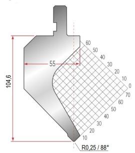 Abkantwerkzeug Typ Amada 1268 88° R0,25