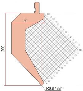 Abkantwerkzeug Typ Amada 1291 88° R0,8