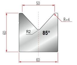 1V-Matrize Typ Amada GWD-2022/V50/85°/R4