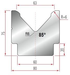 1V-Matrize Typ Amada GWD-2023/V63/85°/R6
