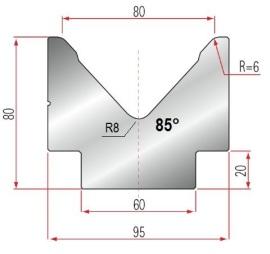 1V-Matrize Typ Amada 2024/V80/85°/R6