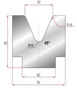 1V-Matrize Typ Amada GWD-2118/V50-45°-R6