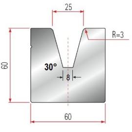 1V-Matrize Typ Amada GWD-2087/V25-30°-R2