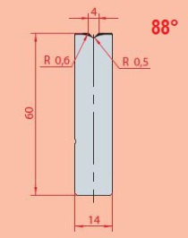 Zentrische 1V-Matrize GWD-3158/V4-88°-R0,6