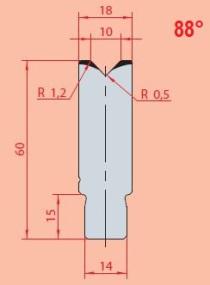 Zentrische 1V-Matrize Typ Amada  GWD-3161/V10-88°-R1,2