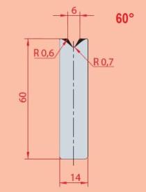 Zentrische 1V-MatrizeTyp GWD-3193/V6-60°-R0,6