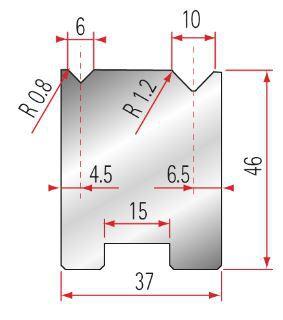 Zentrische 2V-Matrize Amada GWD-2050-88°