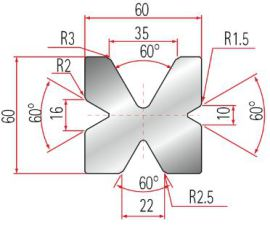 4V-Matrize Typ Amada GWD-2034-60°