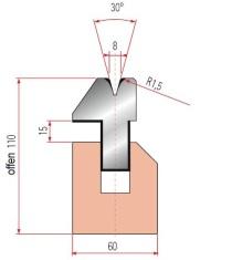 Pneumatische Zudrückmatrize Amada V8-30°