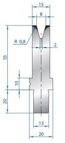 Abkantwerkzeug Typ Bystronic V8 30°