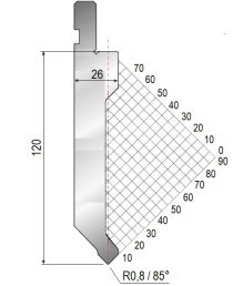 Abkantwerkzeug Typ Amada 1309 85° R0,8