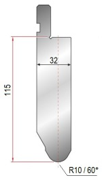 Abkantwerkzeug Typ Amada 1283 60° R10