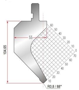 Abkantwerkzeug Typ Amada 1017 88° R0,8