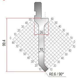 Abkantwerkzeug Typ Amada 1028 90° R0,6