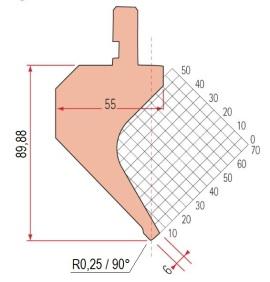 Abkantwerkzeug Typ Amada 1176 90° R0,25