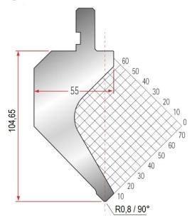 Abkantwerkzeug Typ Amada 1016 90° R0,8