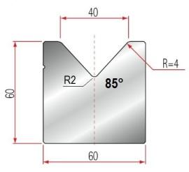 1V-Matrize Typ Amada GWD-2021/V40/85°/R4