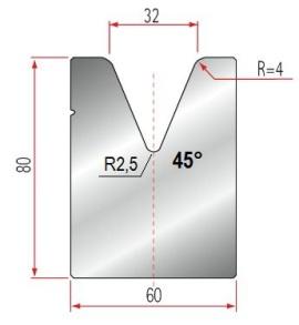 1V-Matrize Typ Amada GWD-2088/V32-45°-R4