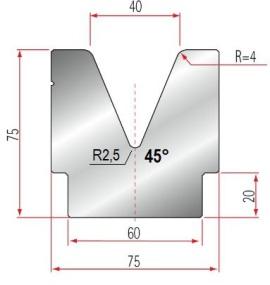1V-Matrize Typ Amada GWD-2081/V40-45°-R4