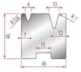 Zentrische 2V-Matrize Amada GWD-2057-30°