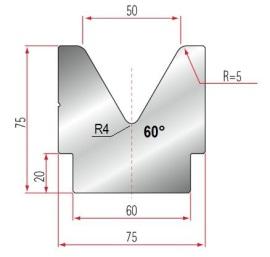 1V-Matrize Typ Amada GWD-2082/V50-60°-R5