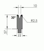 Matrize Typ Pro GWD-W401/V10-30°-R2,5