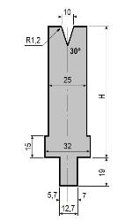 Matrize GWD-L010/V10-30°-R1,2